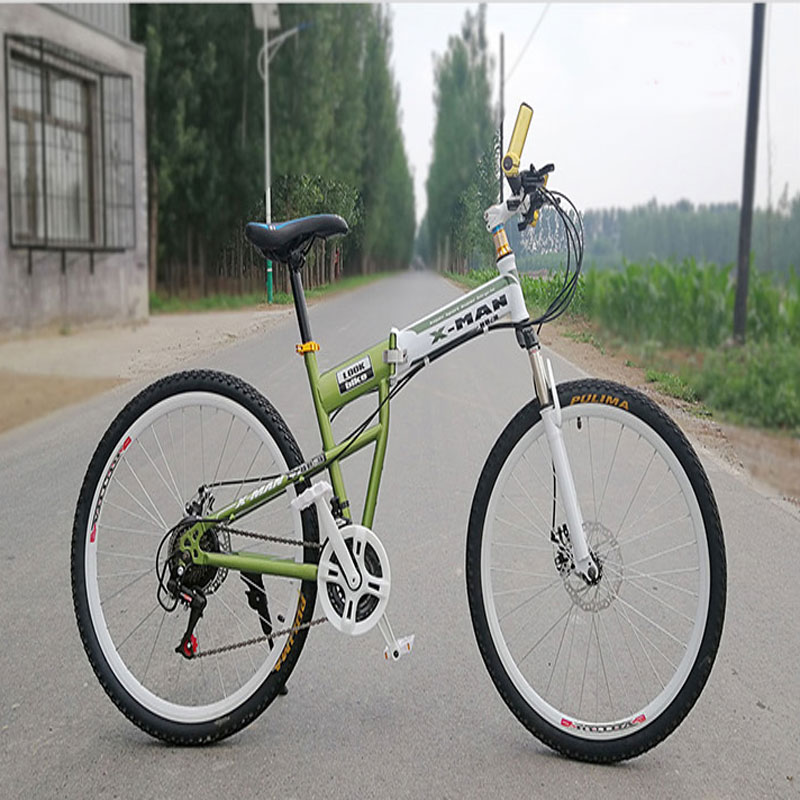 Foldable Double Shock Absorption Variable Speed Mountain Bicycle Aluminum Alloy Frame Double Disc Brake Oil Brake One