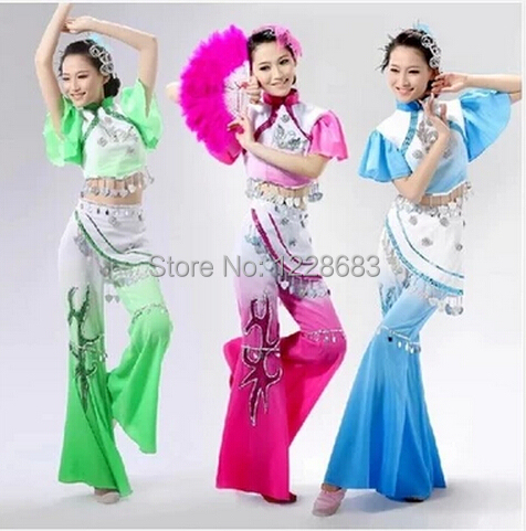 Hot Sale New Ancient Plus Size Blue Pink Green Yangko Dress Traditional Chinese Dance Costumes Roupa Oriental Dance Costumes