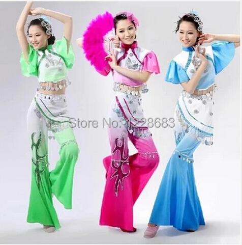 Hot Venda Nova Antiga Plus Size Rosa Azul Verde Vestido Tradicional Chinês Trajes de Dança Yangko Roupa Trajes Da Dança Oriental
