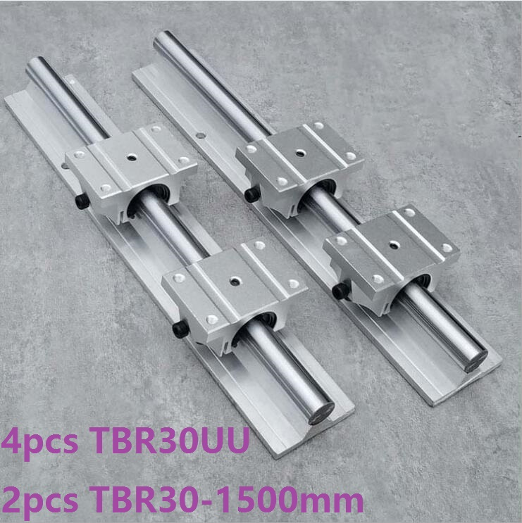 2pcs TBR30 -L 1500mm support rail linear guide + 4pcs TBR30UU linear flange blocks for CNC linear rail precise linear guide rail 1500mm aluminum linear guide rail