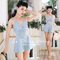FREE SHIPPING Le Palais Vintage 2016 Summer New Striped Blue White Striped V Neck Short Rompers Sexy Jumpsuits With Headband