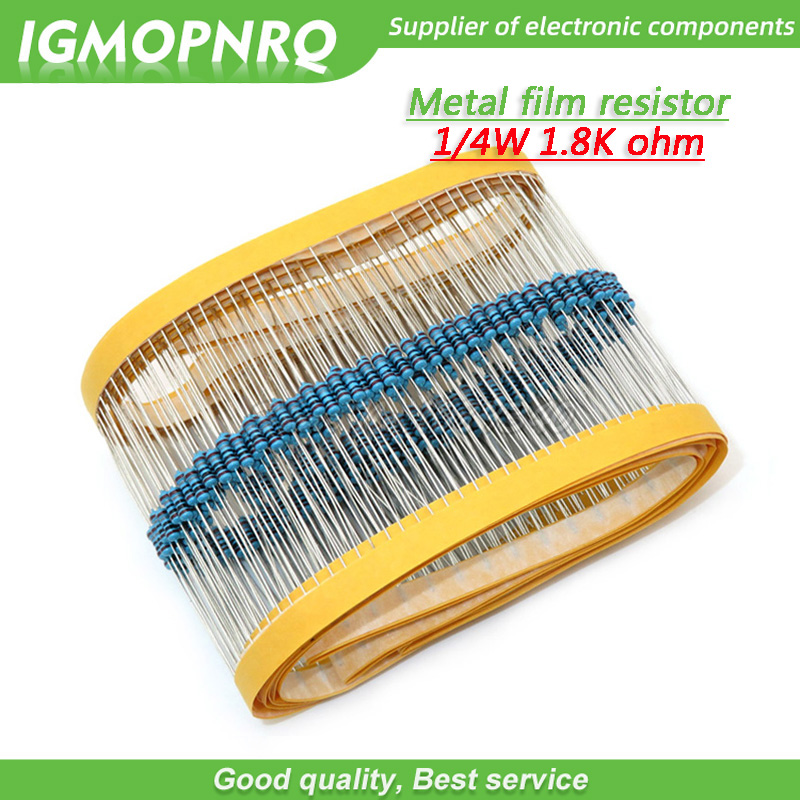 100pcs Metal Film Resistor Five Color Ring Weaving 1/4W 0.25W 1% 1K8 1K8 Ohm 1K8ohm