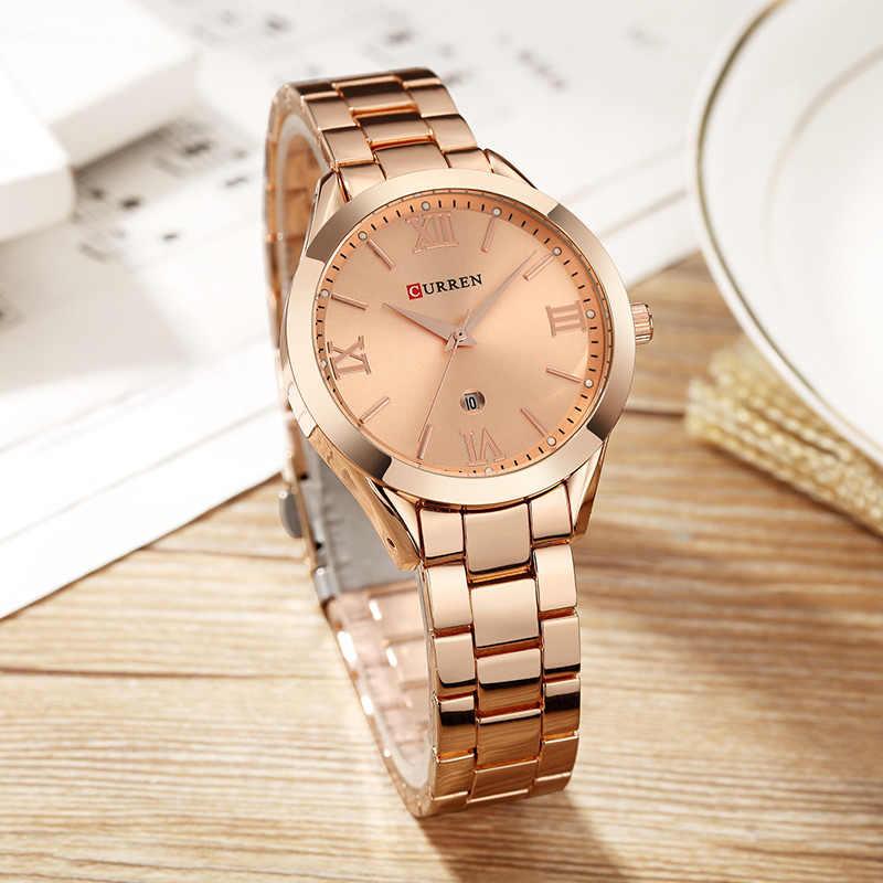 CURREN 골드 시계 여성 시계 숙녀 크리 에이 티브 스틸 여성용 팔찌 시계 여성 시계 Relogio Feminino Montre Femme