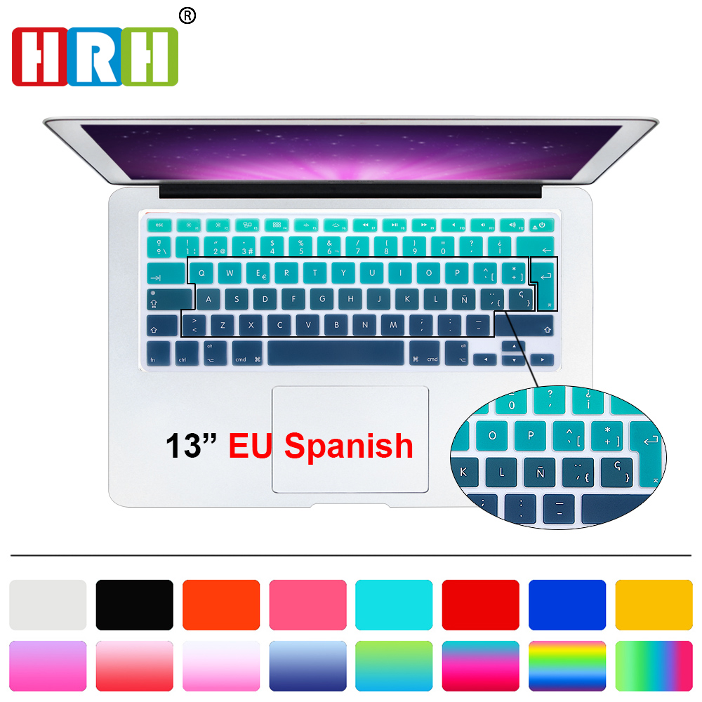 HRH UK/EU ESP Slim Spanish Gradient Rainbow Silicone Keyboard Cover Keypad Skin Protector For Mac book Air Pro Retina 13 15 17 hrh fashion ableton live shortcut hotkey silicone keyboard cover skin protector for mabook air pro retina 13 15 17 both eu us