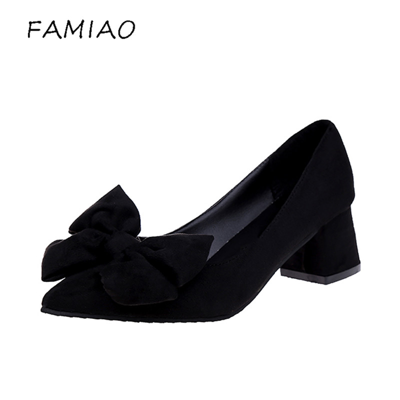 FAMIAO 2018 spring and autumn new high heel point bow tie shallow mouth and work women's shoes in 3 colors party pumps women burgundy gray saphire blue pink women dress party career work shoes flock shallow mouth stiletto thin high heel pumps