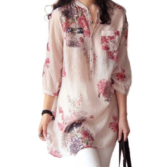 3XL Plus Size  nuevas mujeres Blusas camisas de lino ocasionales del resorte flo
