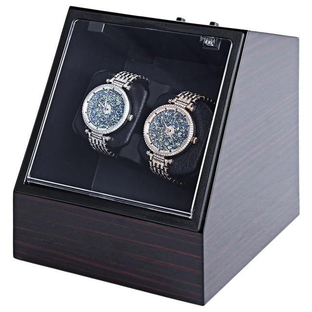 Dobadoura do Relógio de madeira Auto Silencioso Forma Irregular Relógio De Pulso da Caixa Tampa Transparente com Plugue DA UE de Luxo Caixa de Relógio Automático