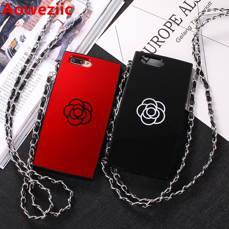 Aoweziic Tide brand South Korea Luxury Red Camellia Flower Case For iphone6 6S 6plus 7Plus X Mirror Phone Cases With Chain Strap