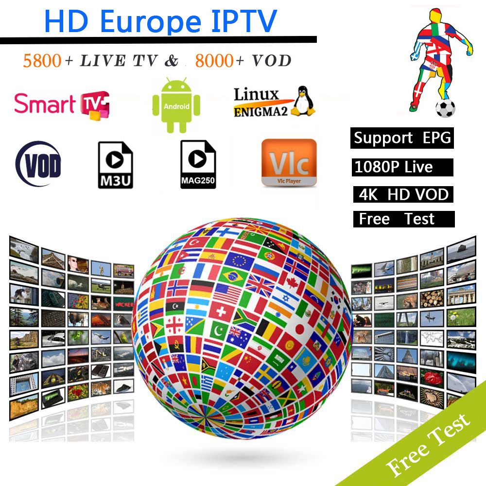 12 Months Europe IPTV Subscription Spain Italy Portugal France UK US IPTV For Android Tv Smart Tv Box Enigma2 Support Free Test