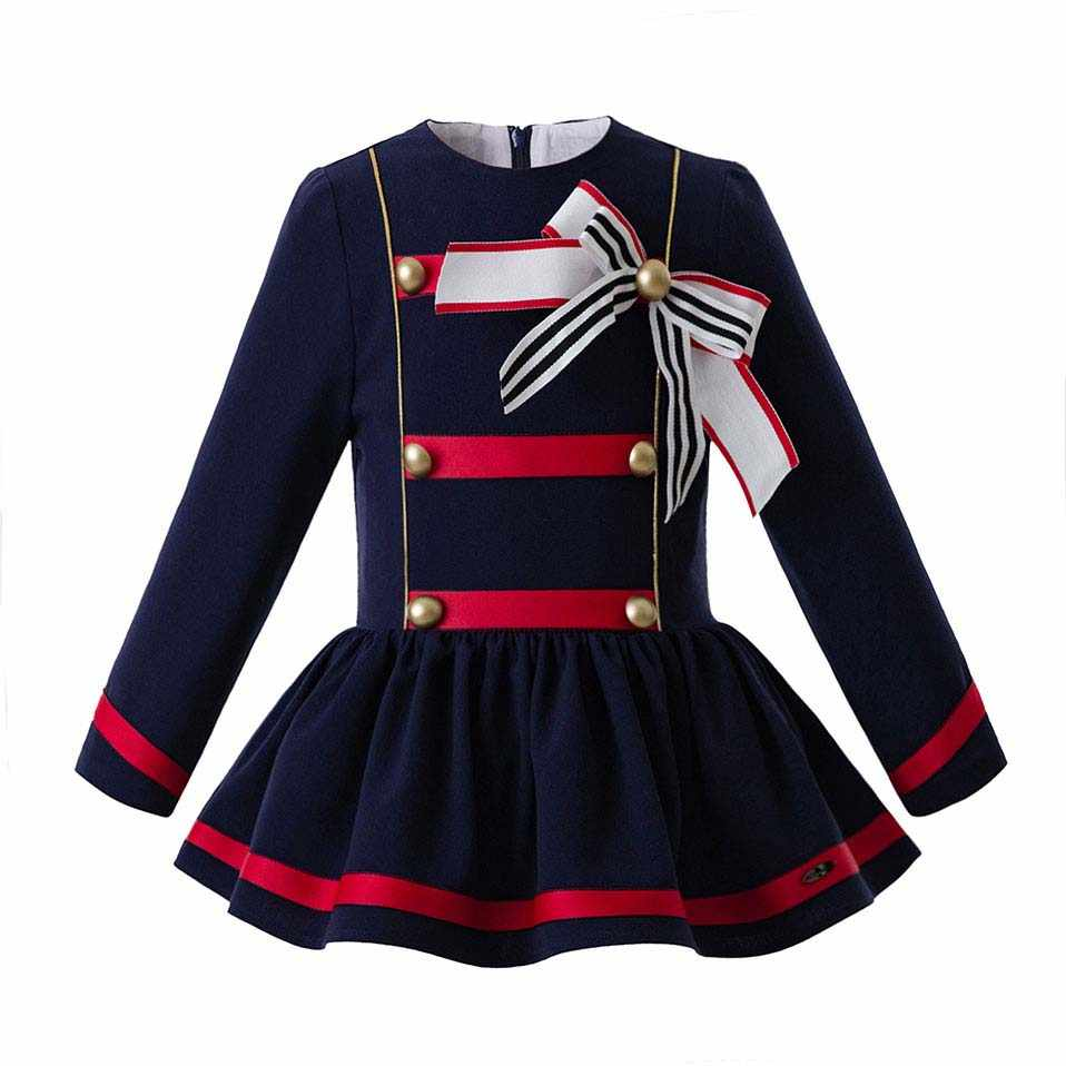 Pettigirl Autumn Royal Blue Girl Party Dress With Bows Retro Style Dresses  Boutique Children Wear With c39f86fa5af1