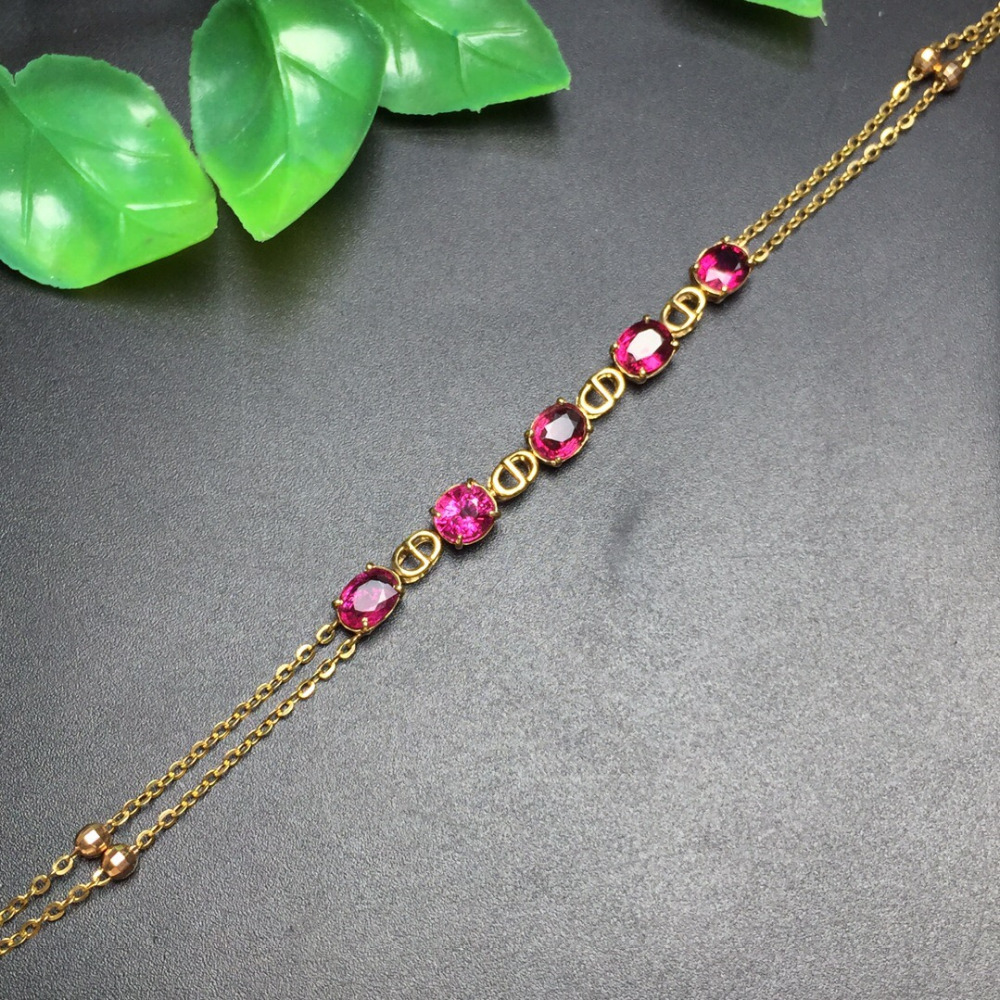 Fine Jewelry Real 18K Rose Gold AU750 G18K 100% Natural Brazil Tourmaline Gemstones Jewellery Bracelets for women Fine Bracelet