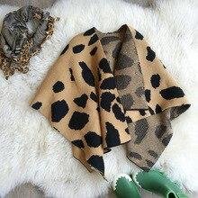 Ankrt Новинка 2017 Зима ins взрыв вентилятора в Европе девушки леопарда шерсть детские платки детские вязаные пальто дети плащ накидка