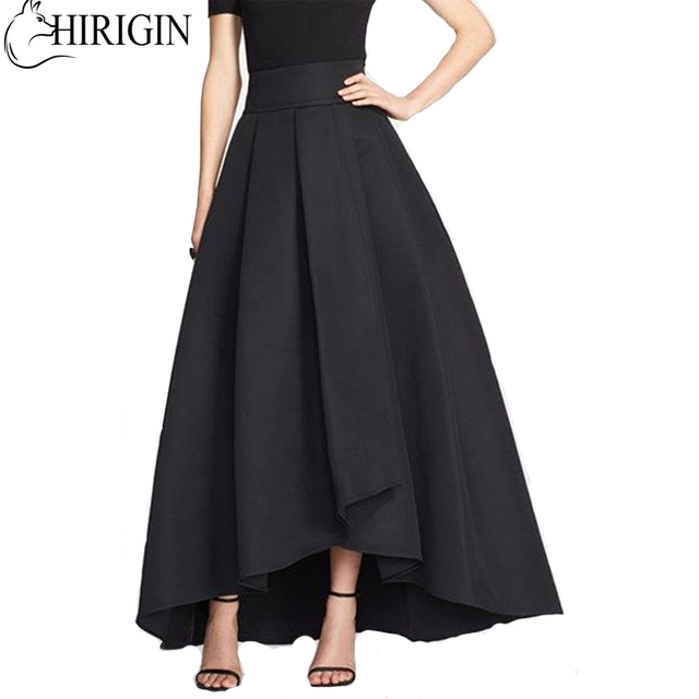 ea81f15481 New Style in Autumn 2017 Women Solid Stretch High Waist Flared Pleated  Asymmetric Maxi Long Skirt -in Skirts from Women's Clothing on  Aliexpress.com ...
