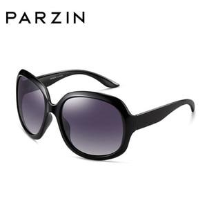 Image 3 - Parzin óculos de sol feminino designer de marca elegante grande quadro polarizado uv 400 senhoras máscaras com caso