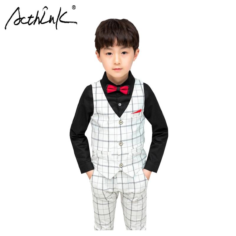 ActhInK 2019 New 3Pcs Boys Autumn Wedding Suit Plaid Spring School Uniform Party Costume
