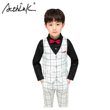 ActhInK 2019 New 3Pcs Boys Autumn Wedding Suit Plaid Spring School Uniform Party Costume