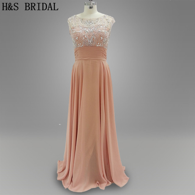 Real photo Prom party dress Nude color Top beaded shinny backless ...