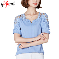 Gkfnmt Summer Women Lace Blouses Shirts 2017 Woman Lace Linen Hollow Out Casual Short Sleeve Women