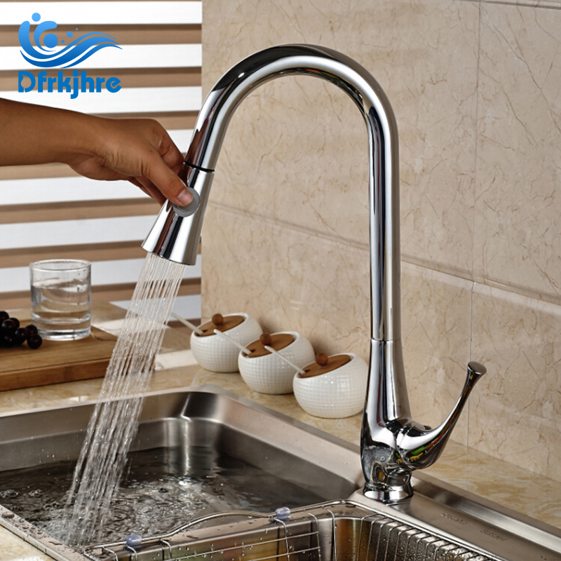 Modern Deck Mounted Chrome Spring Kitchen Faucet Pull Out Spout Mixer Single Handle2Ways Water стоимость