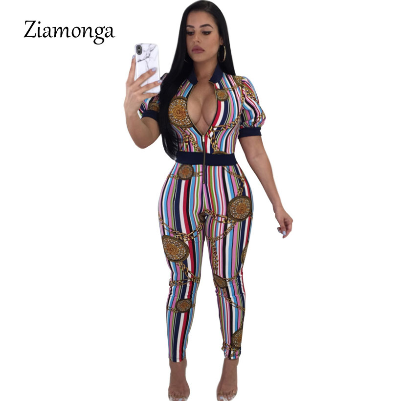 fb2ce40a09a Ziamonga Casual Women One Piece Jumpsuit Short Sleeve Chain Print Bodycon  Front Zipper Long Pants Sexy Rompers Women Playsuit