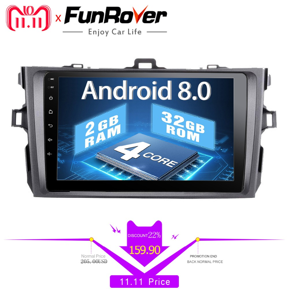 Funrover 2 din Android 8.0 Car Multimedia Radio dvd gps Player For Toyota Corolla 2007 2008 2009 2010 2011 car stereo navigation stainless steel indoor bedroom room door handle lock general type simple silent large solid wood steel door lock