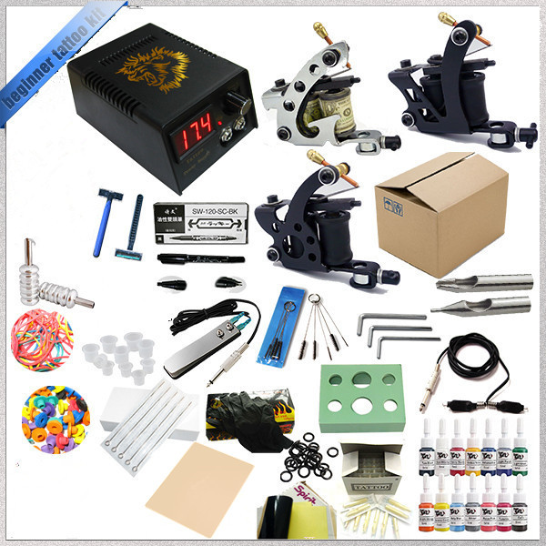 Complete Tattoo Kit Tatttoo Rotary Coils Machine Liner Shader Tattoo Machine Gun Power Supply With Tattoo Ink Needles Kit Supply 1pc primus sunskin rotary tattoo machine multifunction liner shader motor tattoo gun black complete tattoo kit