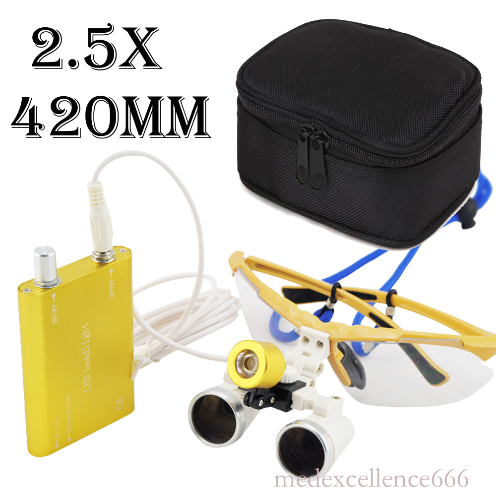 Set!   Dental Surgical Medical Binocular Loupes 3.5X and 2.5x Optical Glass Loupe+LED Head Light Lamp+Black case  US-546