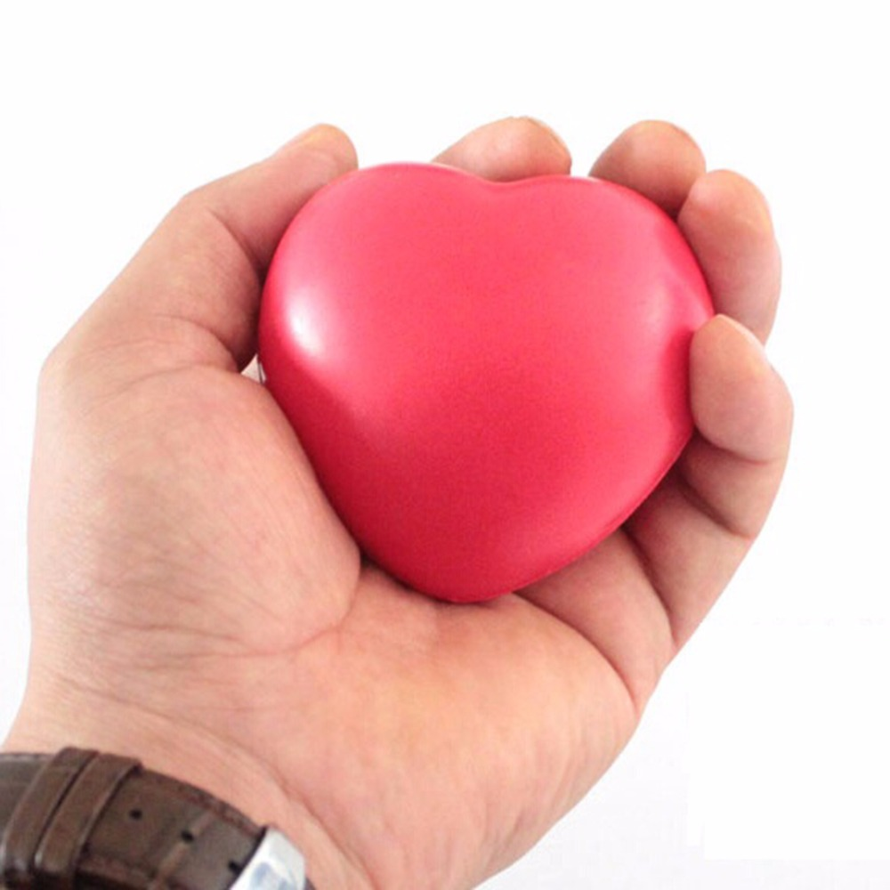 1pc Cute Elastic Rubber Stress Relief Ball Heart Shaped Exercise Stress Relief Squeeze Soft Foam Ball Hot Sale