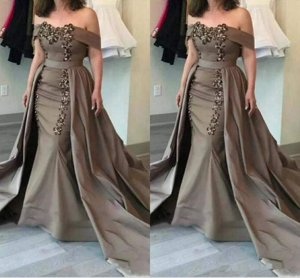 2019 Detachable Mother Of The Bride Dresses Off The Shoulder Sequins And Appliques Mermaid Mother Dress Formal Evening Gowns