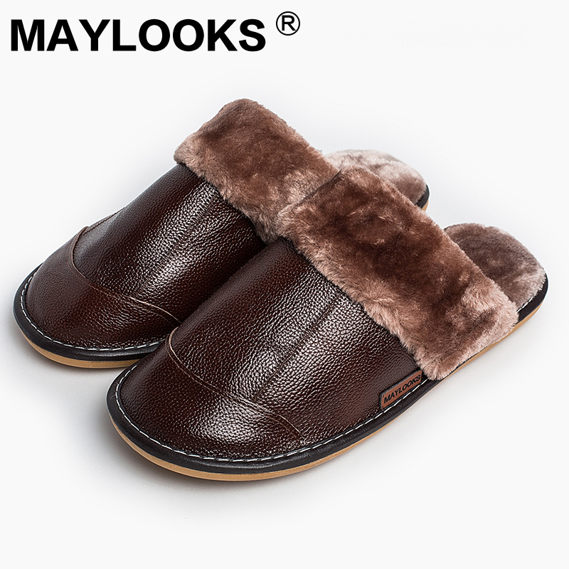 Men's Slippers Winter genuine Leather Thick With Plush Home Indoor Non-slip Thermal Slippers 2018 New Hot Sale Maylooks M-8837