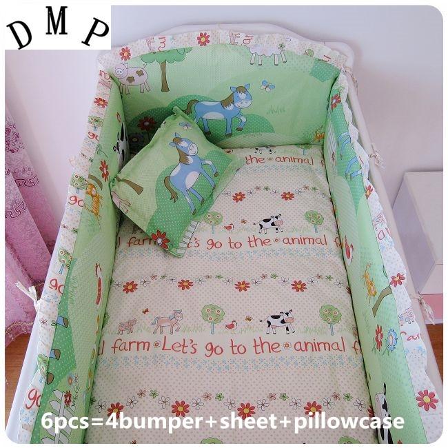 Promotion 6PCS Cotton Baby Bedding Sets font b Cute b font Animal Paradise font b Cute