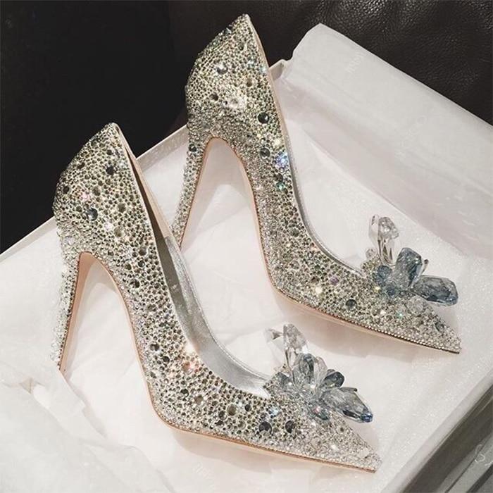 New Silver Week Celebrity Top Grade Cinderella Crystal Shoes Bridal Rhinestone Wedding Shoes With Flower woman