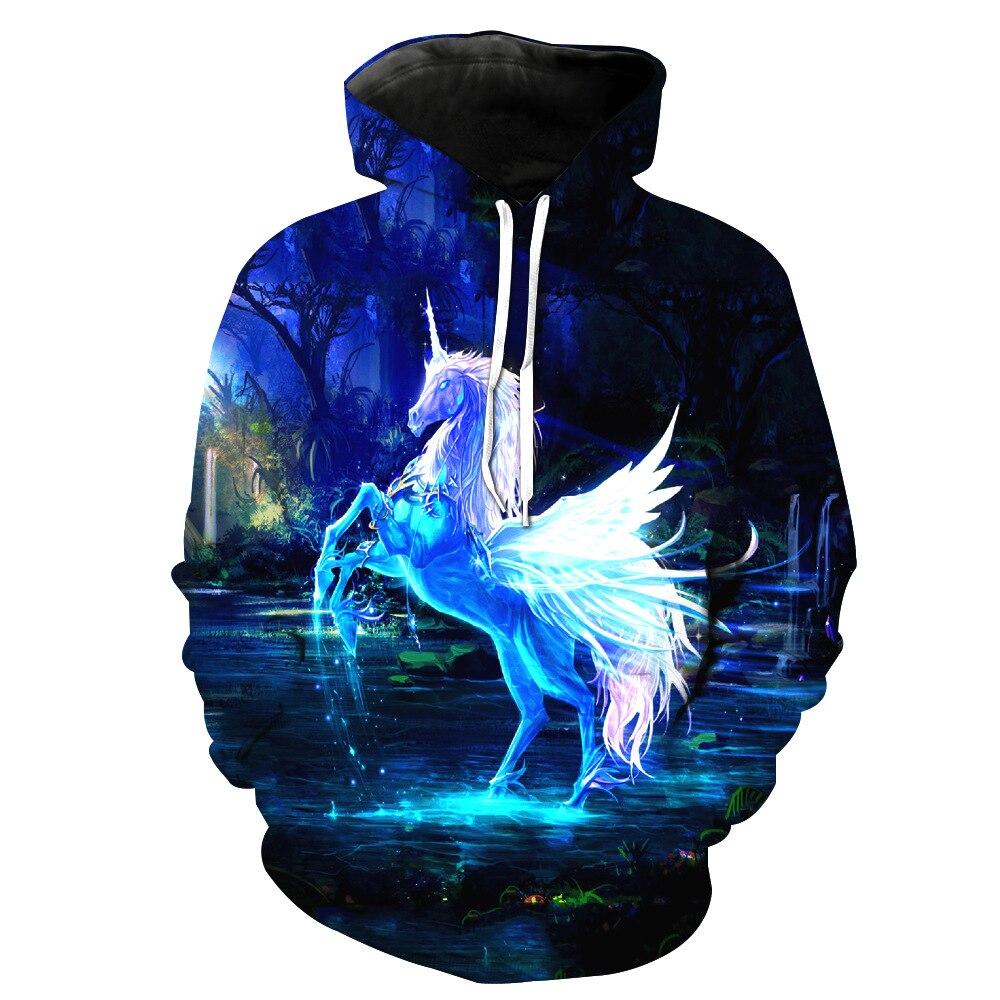 8b471939 Прямая доставка для мужчин/wo мужчин Единорог толстовки с капюшоном принтом  животных Лошадь 3d пуловеры