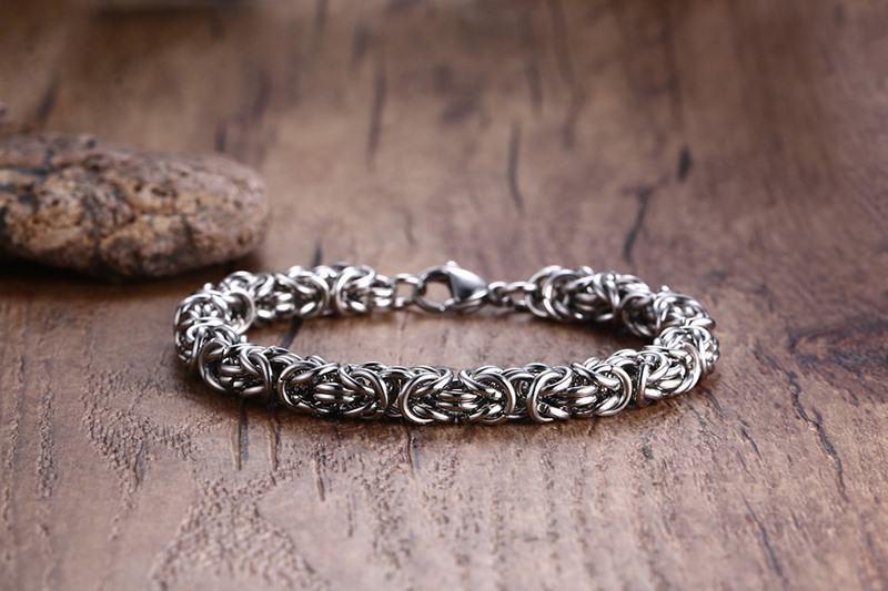 Meaeguet Fashion Stainless Steel O Chain Strand Bracelets & Bangles Vintage Sliver Color Bracelet For Men's Jewelry (9)