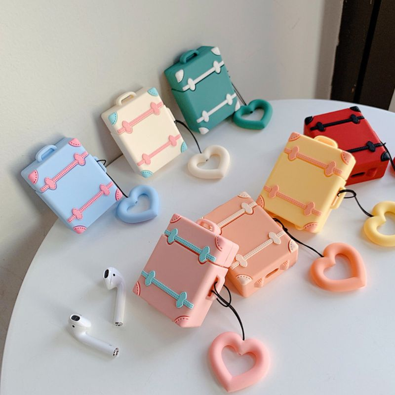 Cute Suitcase Luggage Case Silicone Protective Cover For Apple Airpods 1/2 Bluetooth Earphone With Love Heart Finger Ring Strap