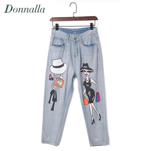 Cartoon Print Jeans For Women 5XL Plus Size Denim Pants Painted Trousers Fashion Loose Jeans Denim Trousers Women Pants Femme