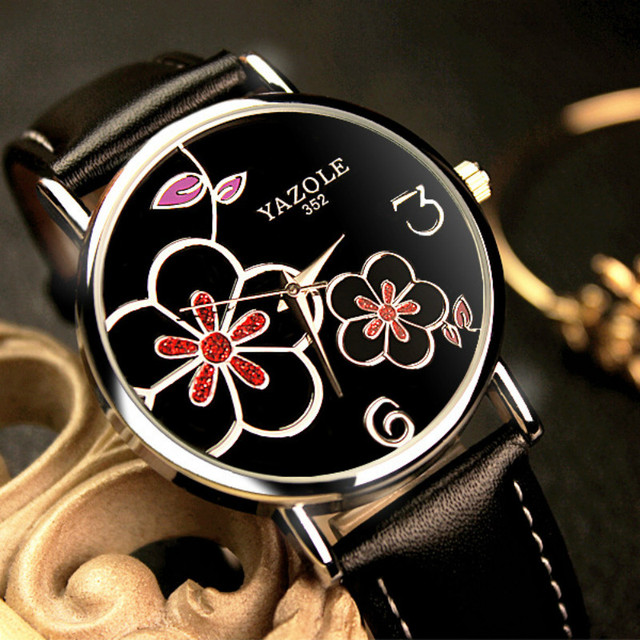 a4a22226a1 YAZOLE Brand Women Watches 2016 Fashion Leather OL Flower Style Ladies  Watch Quartz Watch Montre Femme Relogio Feminino