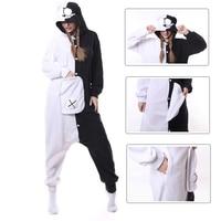 2018 New Adult Animal Monokuma Pajamas Cartoon Black White Bear Kigurumi Onesies Cosplay Costumes Winter Sleepwear Jumpsuits