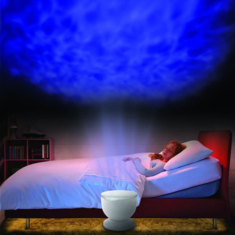 LED Night Light Projector Ocean Blue Sea Waves Projection Lamp With mini Speaker