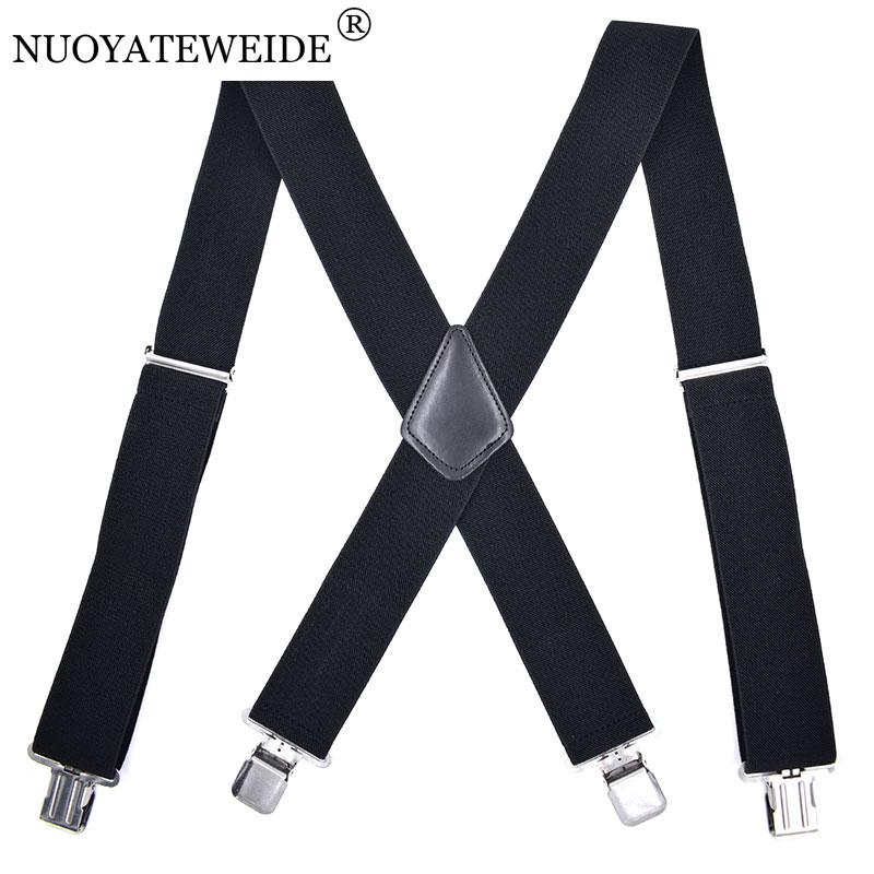 Men Women Retro Party Navy blue stripe Leather Elastic Pants Braces Suspender