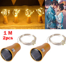 2pcs LED Solar Wine Stopper Sliver Copper Wire Lights 1M 10leds Garland String Lamp Waterproof Outdoor Garden Christmas Light