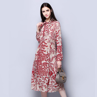 100 Silk Crepe Dress Classic Design Women Printed Dresses New Spring High Quality Sewing Clothing
