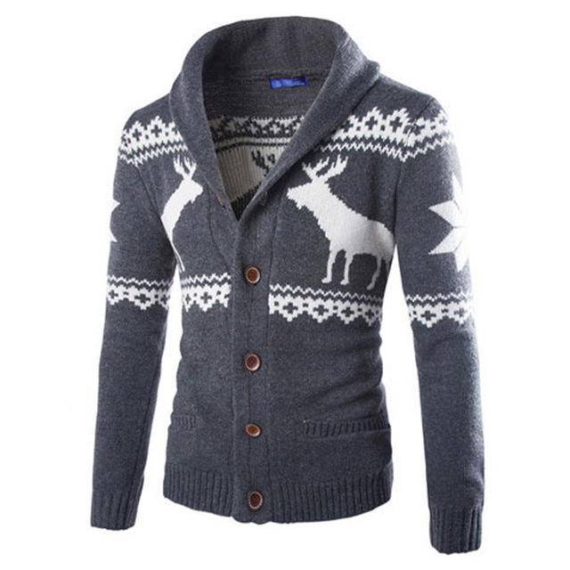 Осень Зима Мужчины с длинными рукавами олень свитер Красочный Высокого класса v воротник мужской Джемпер Трикотаж Мужской Тонкий повседневная Свитера