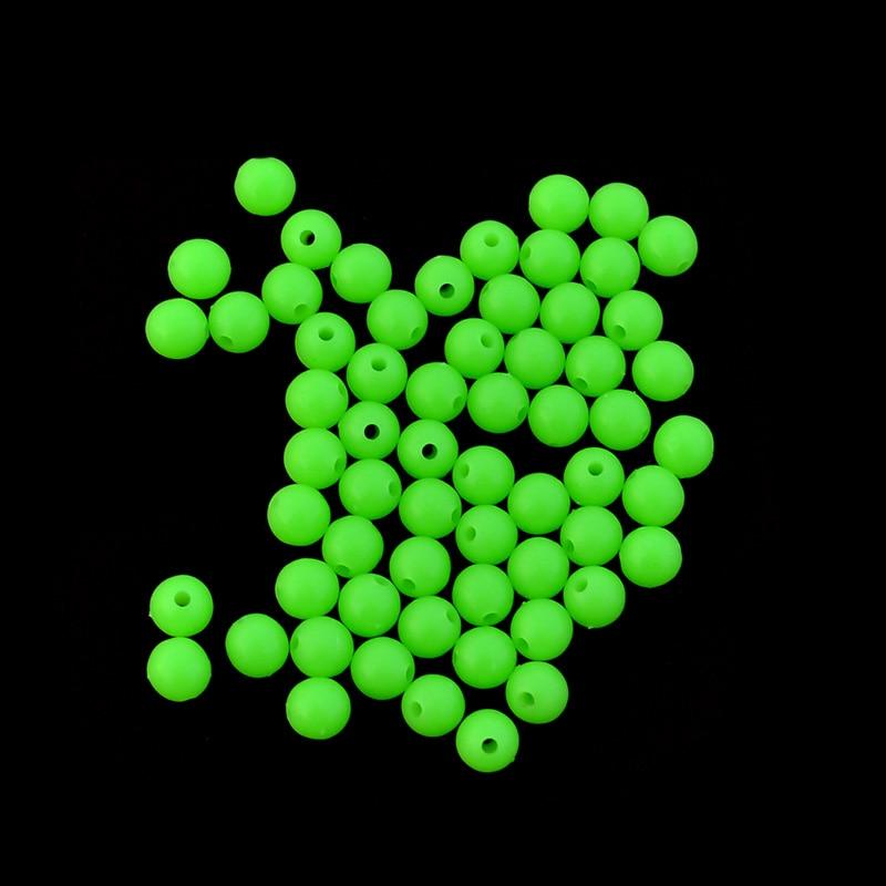 Luminous Fishing Beads 100pcs/lot Hard Plastic Floating Fluorescent Green Fishing Beads Diameter 4mm/5mm/6mm/7mm/8mm