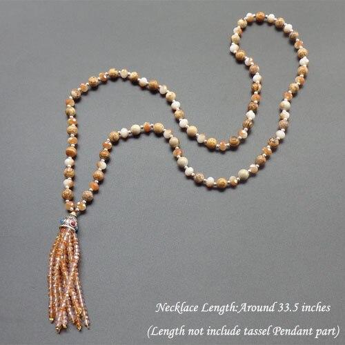 943e33c32ed5 Lujo Bohemia borla collar de cristal Piedra Natural perlas collar sway  collar largo para las mujeres