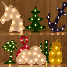 Led Flamingo Night Light Clouds Marquee Sign Pineapple Deer Cactus Led Light Table lamp Romantic Wall Lamp Kids Children Gift