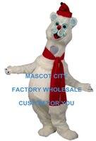 Winnter Christmas Mascot Polar Bear Mascot Costume Adult Antarctic Animal Theme Mascotte Mascota Fancy Dress Cosply SW1097