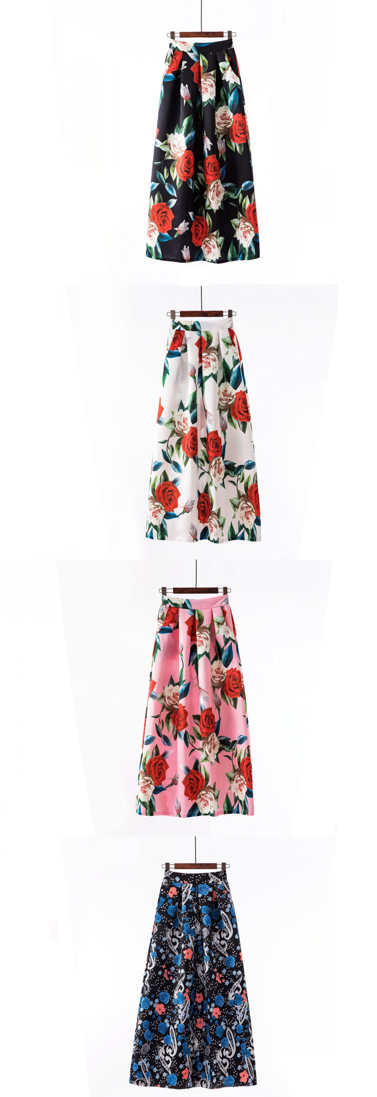 Plus size Maxi Skirt Summer Fashion Vintage High Street A-line High Waist Floral Polka Dot Long Skirts for Women 2020 Jupe Longa 34