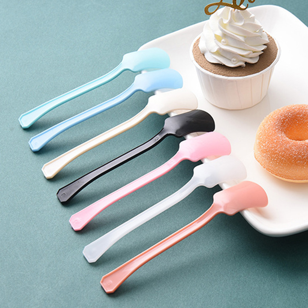 Transparent Blue Plastic Spoons Disposable Taster Spoon Ice cream Sample Spoon