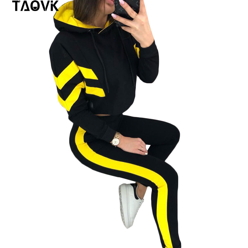 TAOVK Women Cotton Sporting 2 Pieces Sets Color Spliced Short Sweatshirt & Long Pants Tracksuits Casual Hoodies Outfiits